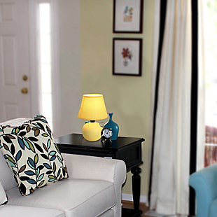 Home Accents Simple Designs Mini Ceramic Globe Table Lamp, Yellow, large