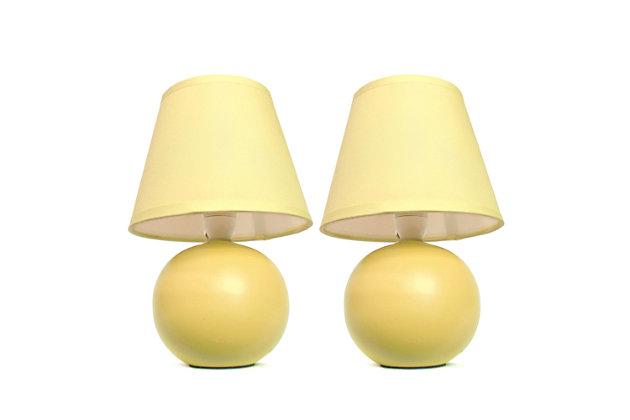 Home Accents Simple Designs Mini Ceramic Globe Table Lamp 2 Pk Set, Yellow, large