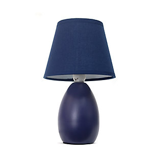 Home Accents Simple Designs Mini Egg Oval Ceramic Table Lamp, Blue, large