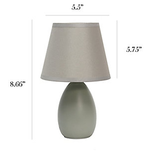 Home Accents Simple Designs Mini Egg Oval Ceramic Table Lamp, Gray, large