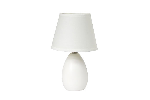 Home Accents Simple Designs Mini Egg Oval Ceramic Table Lamp, White, large