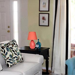 Home Accents Simple Designs Mini Egg Oval Ceramic Table Lamp, Orange, large