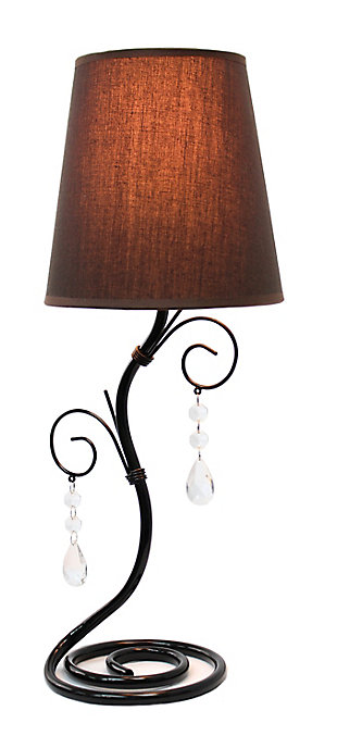 Home Accents Simple Designs Twisted Vine Lamp w Fabric Shade & Crystals, , large