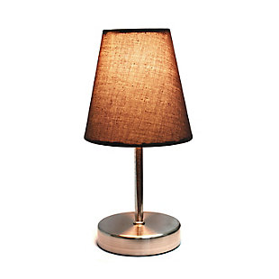 Home Accents Simple Designs Sand Nickel Mini Table Lamp w Fabric Shade, Brown, large