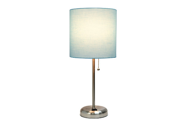 Home Accents LimeLights Brsh Steel Stick Lamp w Charging Outlet & AQU Shade, Aqua, large