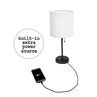 Home Accents LimeLights Black Stick Lamp w Charging Outlet & BLK Fabric Shde, , large