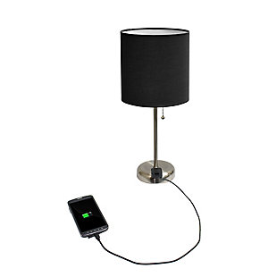 Home Accents LimeLights Brsh Steel Stick Lamp w Charging Outlet & BLK  Shade, Black, large