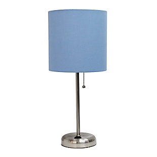 Home Accents LimeLights Brsh Steel Stick Lamp w Charging Outlet & BLU Shade, Blue, large