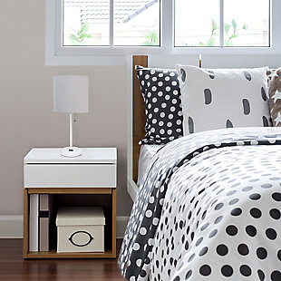Home Accents LimeLights White Stick Lamp w Charging Outlet & GRY Fabric Shde, Gray, rollover