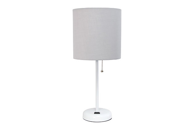 Home Accents LimeLights White Stick Lamp w Charging Outlet & GRY Fabric Shde, Gray, large