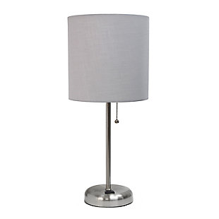 Home Accents LimeLights Brsh Steel Stick Lamp w Charging Outlet & GRY Shade, Gray, large