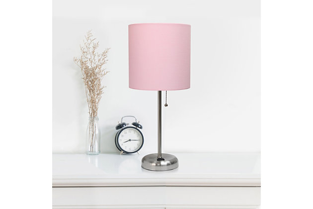 Home Accents LimeLights Brsh Steel Stick Lamp w Charging Outlet & LPK Shade, Light Pink, large