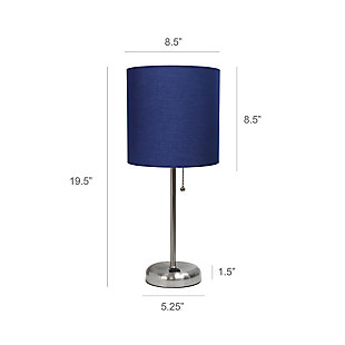 Home Accents LimeLights Brsh Steel Stick Lamp w Charging Outlet & NAV Shade, Navy, large