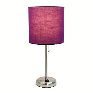 Home Accents LimeLights Brsh Steel Stick Lamp w Charging Outlet & PRP Shade, Purple, large