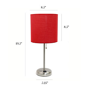 Home Accents LimeLights Brsh Steel Stick Lamp w Charging Outlet & RED Shade, Red, large
