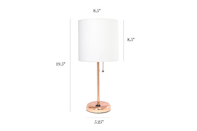 Home Accents LimeLights RGD Stick Lamp w Charging Outlet & WHT Fabric Shade, , large
