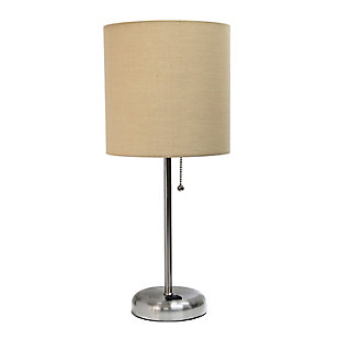Home Accents LimeLights Brsh Steel Stick Lamp w Charging Outlet & TAN Shade, Tan, large