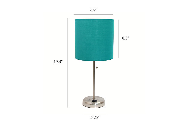 Home Accents LimeLights Brsh Steel Stick Lamp w Charging Outlet & TEL Shade, Teal, large