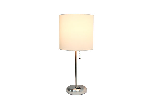 Home Accents LimeLights Brsh Steel Stick Lamp w Charging Outlet & WHT Shade, White, large