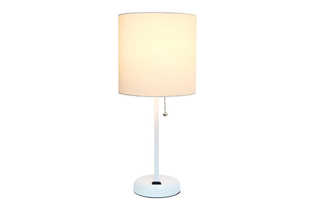 Home Accents LimeLights White Stick Lamp w Charging Outlet & WHT Fabric Shde, White, large