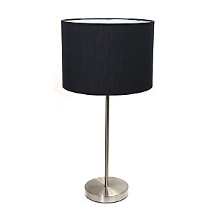 Home Accents Simple Designs BSN Stick Lamp with Fabric Shade, Black, Brushed Nickel/Black, large