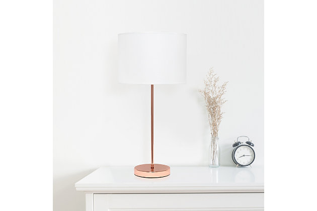 Home Accents Simple Designs Rose Gold Stick Lamp with Fabric Shade, White, White/Rose Gold Finish, large