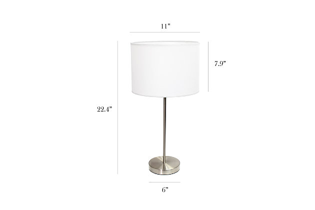 Home Accents Simple Designs BSN Stick Lamp with Fabric Shade, White, Brushed Nickel/White, large