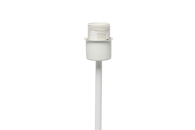 Home Accents Simple Designs White Stick Lamp with Fabric Shade, White, White, large