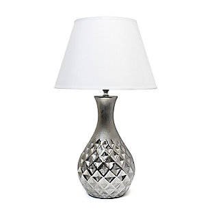 Home Accents Elegant Designs Juliet Ceramic Lamp w Silver Base, WHT Shade, , large