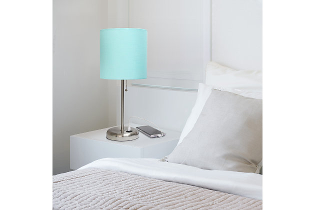 Home Accents LimeLights Br Steel Stick Lamp w USB Port & Fabric Shade, Aqua, Aqua, large
