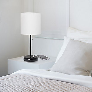 Home Accents LimeLights Black Stick Lamp w USB Port & Fabric Shade, White, , rollover