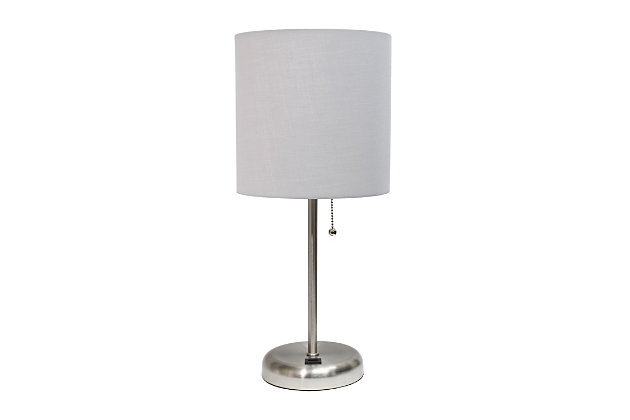 Home Accents LimeLights Br Steel Stick Lamp w USB Port & Fabric Shade, Gray, Gray, large