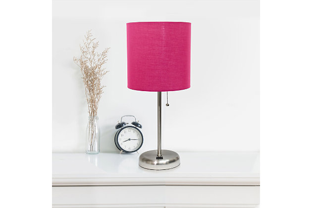 Home Accents LimeLights Br Steel Stick Lamp w USB Port & Fabric Shade, Pink, Pink, large