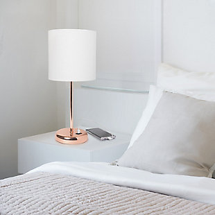 Home Accents LimeLights Rose Gold Stick Lamp w USB Port & Fabric Shade, WHT, , rollover