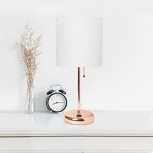 Home Accents LimeLights Rose Gold Stick Lamp w USB Port & Fabric Shade, WHT, , large