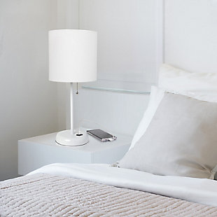 Home Accents LimeLights White Stick Lamp w USB Port & Fabric Shade, White, White, rollover