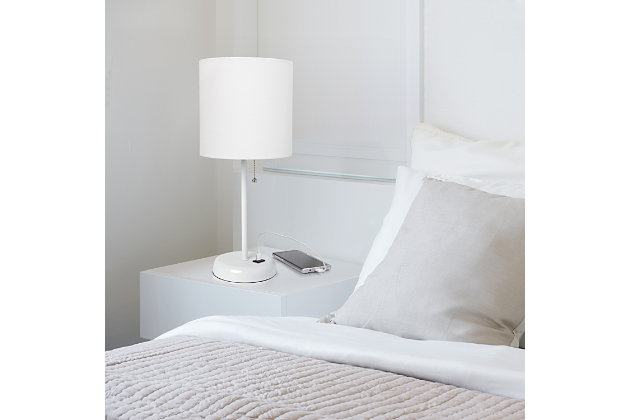 Home Accents LimeLights White Stick Lamp w USB Port & Fabric Shade, White, , large