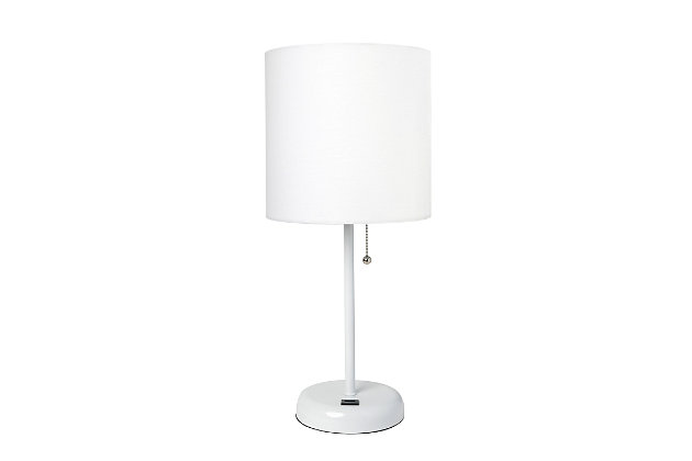 Home Accents LimeLights White Stick Lamp w USB Port & Fabric Shade, White, White, large