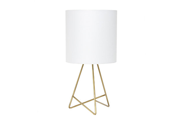 Home Accents Simple Designs Down to the Wire Gold Lamp w WHT Fabric Shade, Gold, large