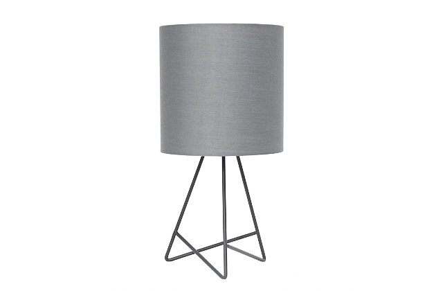 Home Accents Simple Designs Down to the Wire Gray Lamp w GRY Fabric Shade, Gray, large