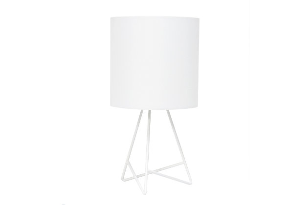 Home Accents Simple Designs Down to the Wire WHT Lamp w WHT Fabric Shade, White, large