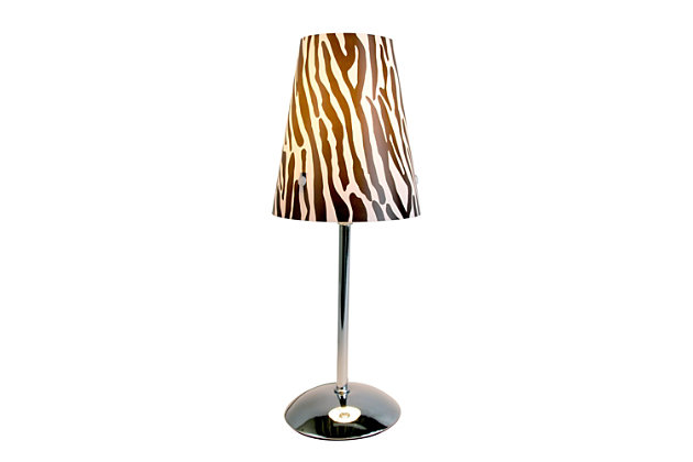 Home Accents LimeLights Mini Silver Table Lamp with Plastic Printed Shade, , large