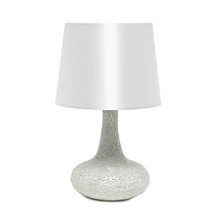 Home Accents Simple Designs Mosaic Tiled Glass Genie Table Lamp, White, White, large
