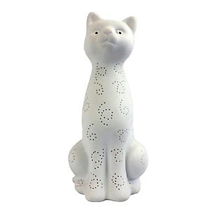 Home Accents Simple Designs Porcelain Kitty Cat Shaped Animal Table Lamp, , large