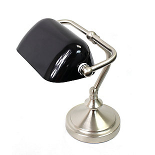 Home Accents Simple Designs Traditional Mini Banker's Lamp w Glass Shade, Black, large