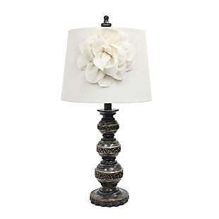 Home Accents Elegant Designs Aged Brz Stacked Ball Lamp w Couture Shade, , large