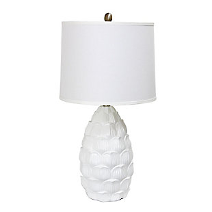 Home Accents Elegant Designs Resin Table Lamp with Fabric Shade, White, , large