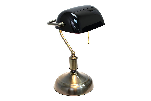 Home Accents Simple Designs Executive Bankers Desk Lamp w BLK Glass Shade, Black, large
