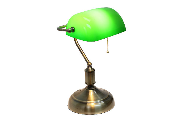 Home Accents Simple Designs Executive Bankers Desk Lamp w GRN Glass Shade, Green, large