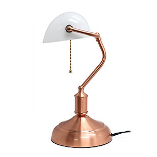 Home Accents Simple Designs Executive Bankers RGD Desk Lamp w Glass Shade, Rose Gold, large